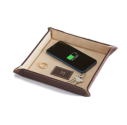 Leather storage trays with wireless phone charger