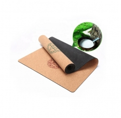 Natural rubber back eco friendly cork yoga mat for...