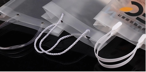 Frosted plastic shopping bag handle string