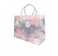 Flowers Gusset Frosted Plastic Shopping Bag