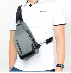 Sling Chest Bag with USB Charging Port Waterproof Crossbody backpacks for Men