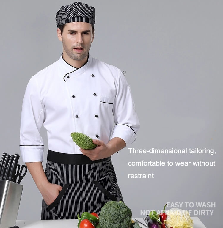Chef uniforms three-dimensional tailoring, comfortable to wear without restraint