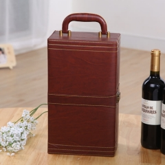 Double bottle of leather wine boxes