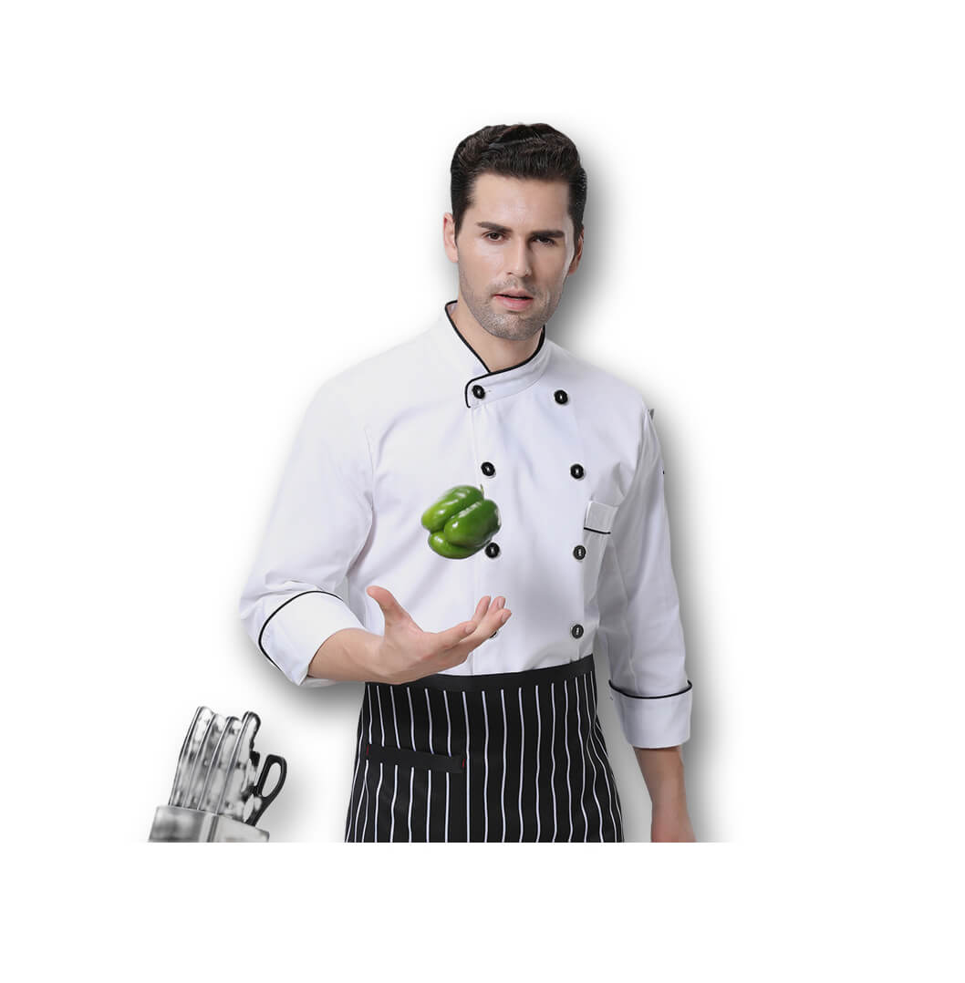 Cotton Polyester Chef Uniforms Hotel Long Sleeves Workwear Chef Coat
