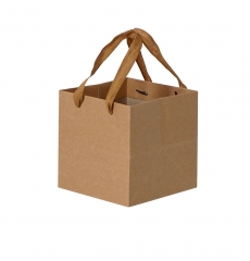 Square Kraft Paper Bag with Rope Handle Packaging ...